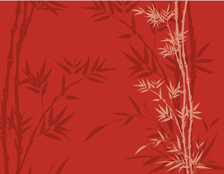Red east Asian traditional bamboo background with space for text