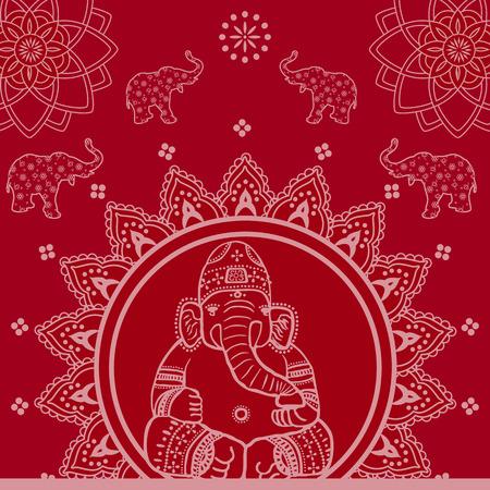 ganesh: Красный Традиционная индийская Ганеш Мандала фона