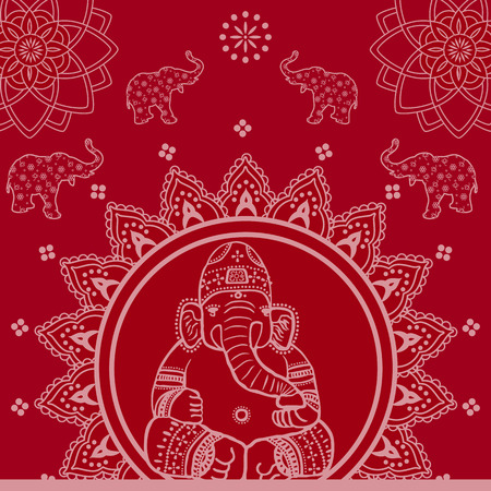 Red Traditional Indian Ganesh Mandala Background  Vector