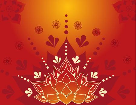 rangoli: Colorful traditional Indian lotus henna background design  Illustration