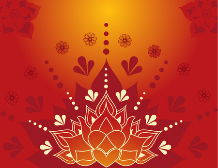 Colorful traditional Indian lotus henna background design  Vectores