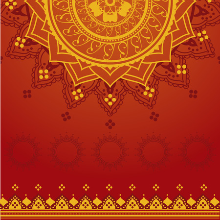 lotus pattern: Yellow and red Indian saree background