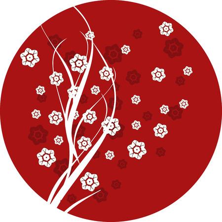 Traditional Japanese cherry blossom round design  Illustration