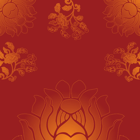 saree: Red traditional Indian lotus background design with space for text