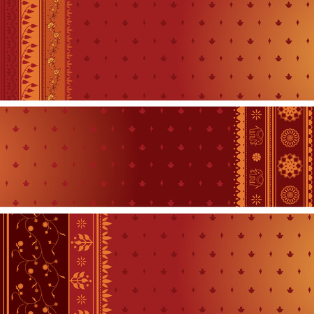 Set of 3 traditional Indian saree design banners with space for text