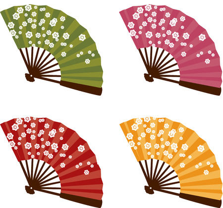 Set of 4 colorful traditional Japanese cherry blossom fans
