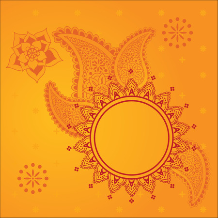 Traditional yellow Indian henna design background with space for text Vector