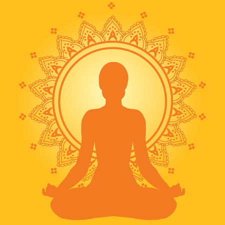 girl pose: Meditating woman on yellow indian style background