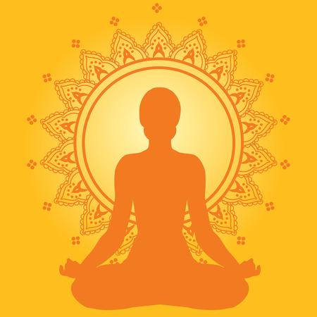Mediteren vrouw op geel Indiase stijl achtergrond