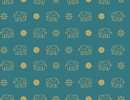 Colorful traditional blue Indian elephant seamless pattern