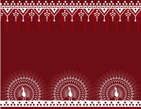 テキスト用のスペースと暗い伝統的なインドクジャク ヘナ カード デザイン
