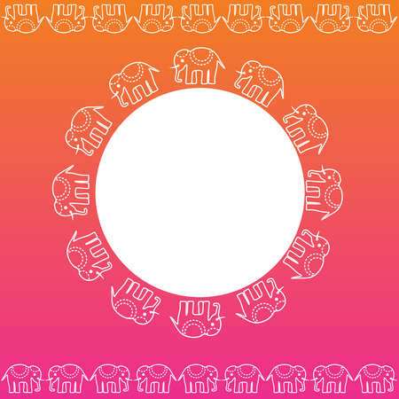 Colorful pink and orange traditional Indian henna elephant banner design with space for text