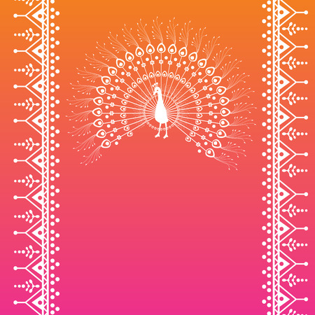 Colorful pink and orange traditional Indian henna peacock banner design with space for text Vettoriali