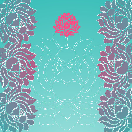 flower border pink: Colorful pink and blue traditional oriental lotus card design with space for text