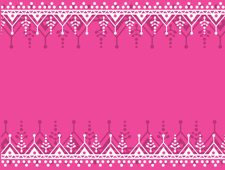 Colorful pink traditional Indian henna border card design with space for text Illusztráció
