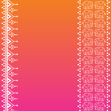 Colorful pink and orange traditional Indian henna elephant banner design with space for text Vector