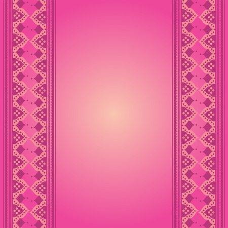 indian saree: Colorful pink traditional Indian henna card design with space for text