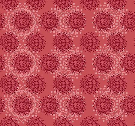 Traditional pink henna mandala design seamless wallpaper