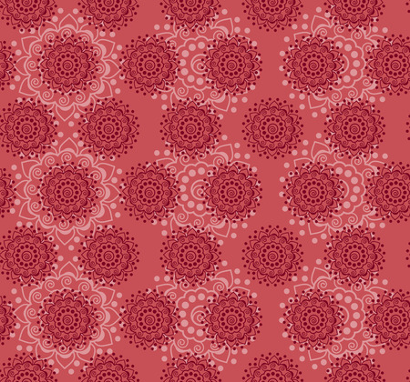 Traditional Pink Henna Mandala Design Seamless Wallpaper Royalty