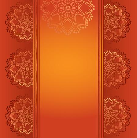 テキスト用のスペースとカラフルな赤は、伝統的なインド ヘナ マンダラ カード デザイン