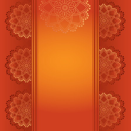 Colorful red traditional Indian henna mandala card design with space for text Illustration