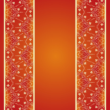 east indians: Red and gold lotus henna Asian background design