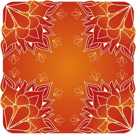 seta thailandese: Rosso e oro di loto henn� sfondo Asian progettazione