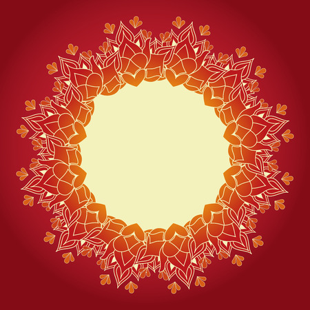 mandala: Red and gold lotus henna mandala background Illustration