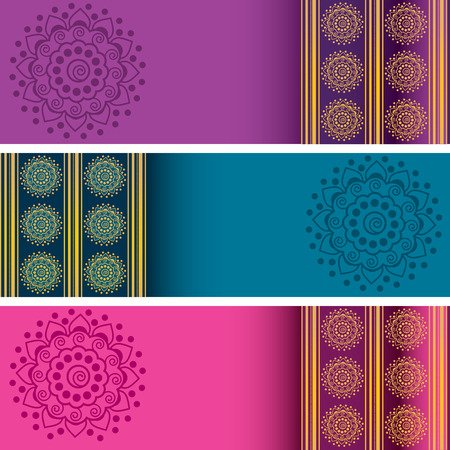 Set of 3 colorful traditional Indian henna mandala banners with space for text
