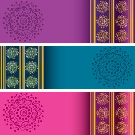 Set van 3 kleurrijke traditionele Indiase henna mandala banners met ruimte voor tekst Stock Illustratie