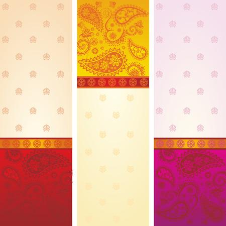 텍스트에 대 한 공간을 가진 세 다채로운 전통 인도의 사리 페이 즐 리 디자인 배너의 집합