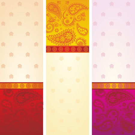 Set of 3 colorful traditional Indian saree paisley design banners with space for text Ilustracja