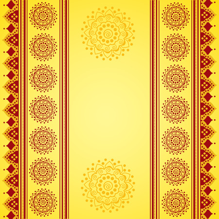 Colorful yellow and red traditional Indian henna mandala banner design with space for text