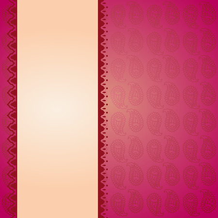 Asian pink paisley background with banner for text 向量圖像