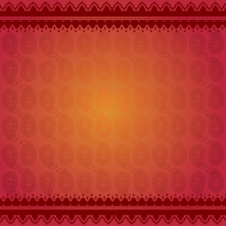 Asian red paisley background with henna borders