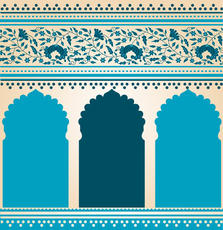 Traditional blue Indian saree temple design Vector