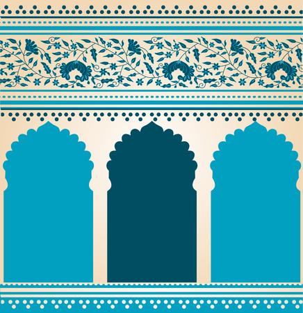 hindu temple: Traditional blue Indian saree temple design
