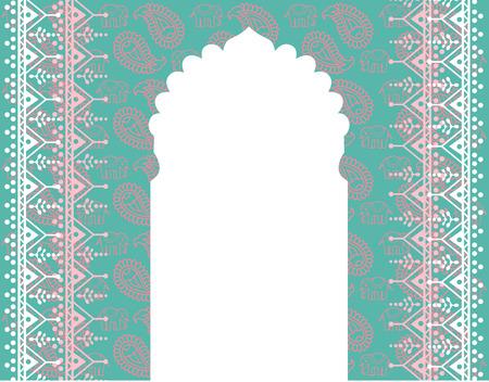 아시아 블루와 핑크 코끼리와 페이 즐 리 배경 텍스트위한 공간 일러스트