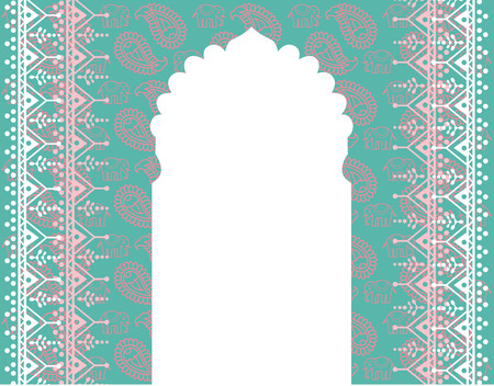 Asian blue and pink elephant and paisley background with space for text Vectores