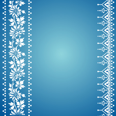 Traditional blue and white floral Indian henna banner Vector