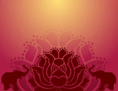 Bright lotus and elephant silhouettes banner with space for text Vector