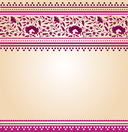Traditional pink and cream floral Indian saree design background