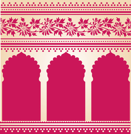 Traditionele roze Indiase saree tempel ontwerp Stock Illustratie