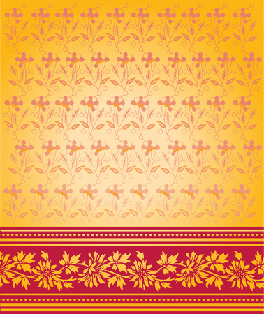 Red and yellow traditional floral Indian saree background