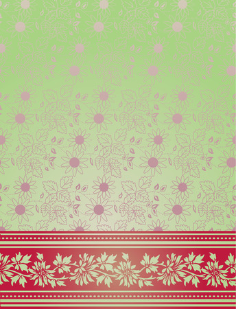 Traditional Indian saree pink and green background Vector