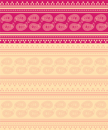 saree: Traditional pink and cream oriental saree design with paisley Illustration