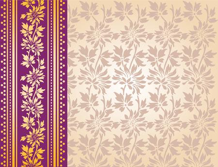 Classical purple and cream Indian floral saree design Vector