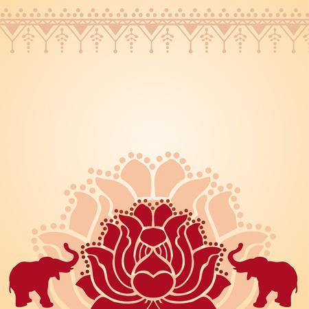 伝統的な赤とクリーム アジア ロータスと象デザインとテキスト用のスペース