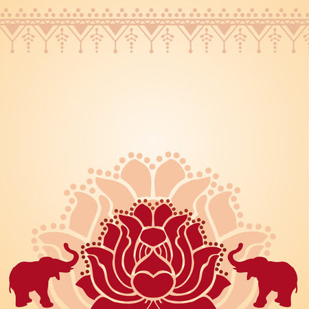 space for text: Traditional red and cream Asian lotus and elephant design with space for text Illustration