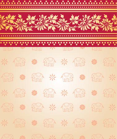 saree: Indian saree design with flowers and elephants Illustration